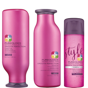 Pureology Smooth Perfection Shampoo, Conditioner (250 ml) og Serum (150 ml)