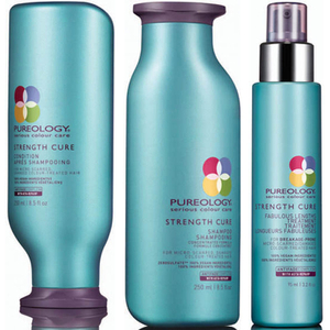 Shampoo e Condicionador Strength Cure (250 ml) e Sérum para Cabelos Compridos Fabulous Lengths Treatment da Pureology (95 ml)