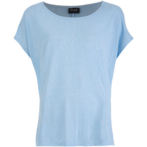 VILA Women's Visumi Short Sleeve Top - Cashmere Blue
