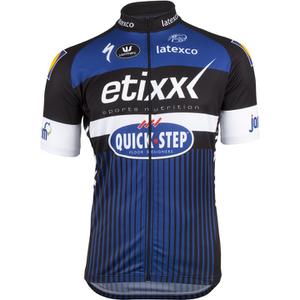 Etixx Quick-Step Short Sleeve Long Zip Jersey 2016 - Black/Blue