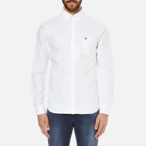 Selected Homme Men's Collect Long Sleeve Cotton Shirt - White