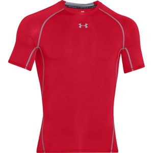 Under Armour Men's Armour HeatGear Short Sleeve Training T-Shirt - Red/Steel