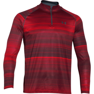 Under Armour Men's Tech Printed 1/4 Zip Long Sleeve Top - Red