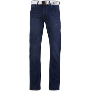 Smith & Jones Men's Rastrelli Belted Straight Fit Jeans - Dark Wash