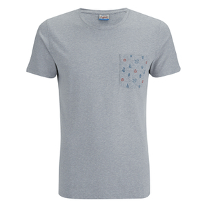 Jack & Jones Herren Originals Bobby Pocket Print T-Shirt - Light Grau Marl