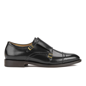 Hudson London Men's Baldwin Hi Shine Leather Monk Shoes - Black