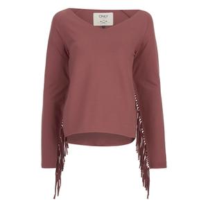 ONLY Women's Madge Long Sleeve O-Neck Tassel Sweatshirt - Marsala