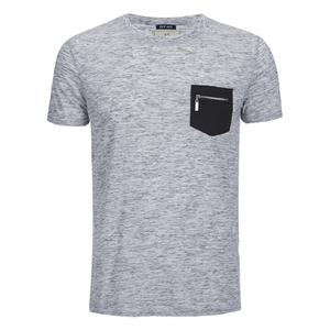 Brave Soul Men's Exit Zip Pocket T-Shirt - Light Grey