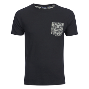 Brave Soul Men's Pulp Camo Pocket T-Shirt - Black