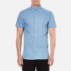 Selected Homme Men's Honenolan Slim Fit Short Sleeve Shirt - Medium Blue Denim
