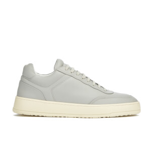 ETQ. Men's Low Top 5 Rubberized Leather Trainers - Alloy/Eggshell