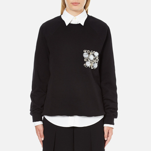 MSGM Women's Embellished Pocket Sweatshirt - Black