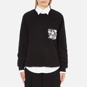 MSGM Women's Embellished Pocket Sweatshirt - Black