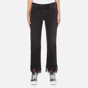 MSGM Women's Fringe Bottom Jeans - Black