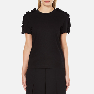 MSGM Women's Frill Sleeve T-Shirt - Black