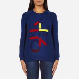 KENZO Women's Logo Multi Knitted Jumper - Duck Blue