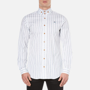 Vivienne Westwood MAN Men's Printed Oxford Two Button Krall Shirt - White Stripe