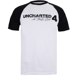 Unchartered 4 Logo Raglan Heren T-Shirt - Wit/Zwart