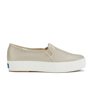 Keds Women's Triple Metallic Deckers Canvas Slip On Trainers - Gold