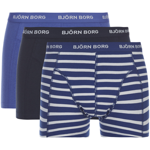 Bjorn Borg Men's 3 Pack Stripe Detail Boxer Shorts - Sodalite Blue