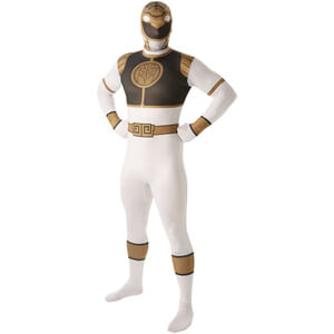 Power Rangers Men's 2nd Skin White Ranger Fancy Dress