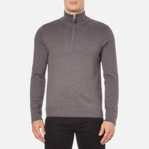 GANT Men's Half Zip Knitted Jumper - Antracit Melange