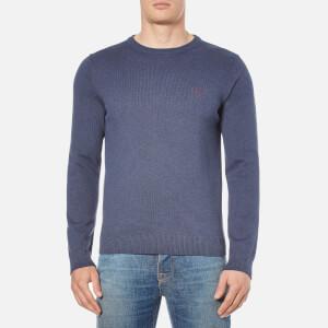 GANT Men's Contrast Cotton Crew Neck Knitted Jumper - Dark Indigo