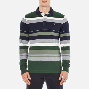 GANT Men's Stripe Heavy Polo Shirt - Pine Green