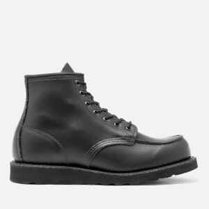 Red Wing Men's 6 Inch Moc Toe Leather Lace Up Boots - Black Chrome