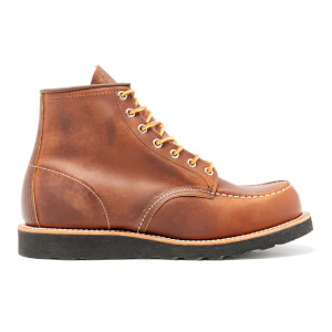 Red Wing Men's 6 Inch Moc Toe Leather Lace Up Boots - Copper Rough and Tough/Black Sole