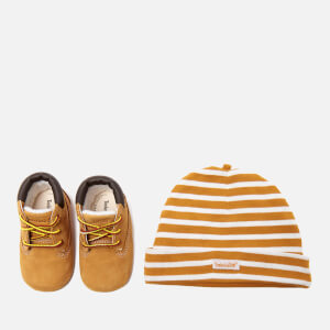 Timberland Babies' Crib Bootie with Hat Gift Set - Wheat