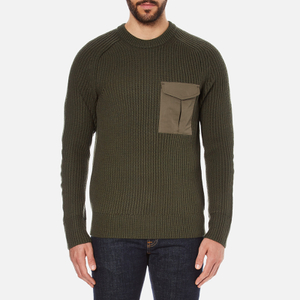rag & bone Men's Elijah Rib Jumper - Army Green