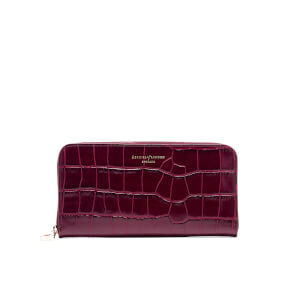 Aspinal of London Women's Continental Clutch Croc Purse - Bordeaux Croc