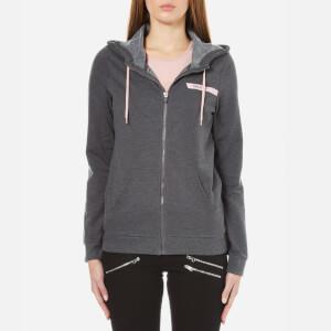 ONLY Women's Ellen Hooded Zip Top - Dark Grey Malange