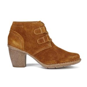 Clarks Women's Carleta Lyon Suede Heeled Ankle Boots - Tan