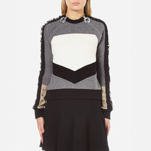 Carven Women's Zip Pull Neck Sweatshirt with Sequin Sleeves - Grey/Black/White