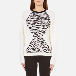 KENZO Women's Tiger Stripes Jacquard Sweatshirt - White