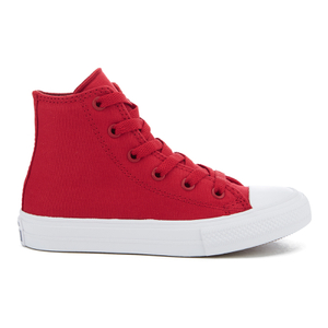 Converse Kids Chuck Taylor All Star II Tencel Canvas Hi-Top Trainers - Salsa Red/White/Navy