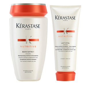 Kérastase Nutritive Bain Satin 1 250 ml i Nutritive Lait Vital 200 ml