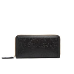 Orla Kiely Women's Sixties Stem Big Zip Leather Wallet - Black