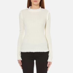MICHAEL MICHAEL KORS Women's Fine Fringe Crew Neck Sweater - Cream