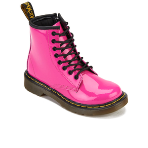 Dr. Martens Kids' 1460 J Patent Lamper Lace Up Boots - Hot Pink: Image 2
