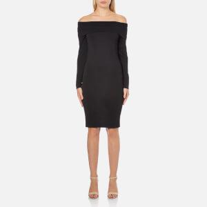 Selected Femme Women's Mathilde Off Shoulder Knitted Dress - Black