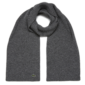 Lacoste Men's Ribbed Scarf - Light Grey Jaspe