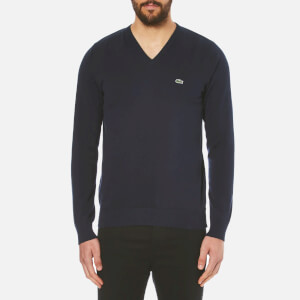 Lacoste Men's V-Neck Jumper - Navy Blue