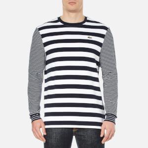 Lacoste L!ve Men's Long Sleeve Stripe T-Shirt - Navy Blue/White