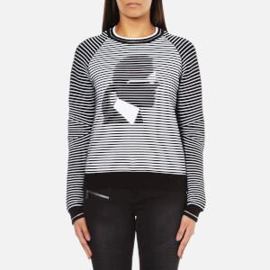 Karl Lagerfeld Women's Karl Head Jacquard Sweatshirt - Black/White
