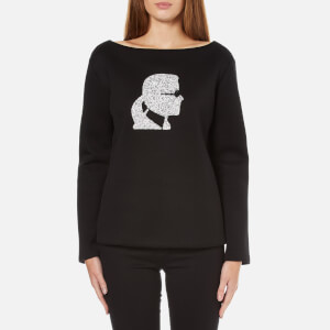 Karl Lagerfeld Women's Sparkle Karl Head Sweatshirt - Black