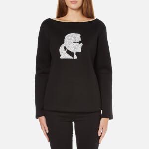 Karl Lagerfeld Women's Sparkle Karl Head Sweatshirt - Black