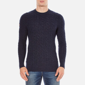 Superdry Men's Harrow Cable Crew Jumper - Dark Indigo/Navy Twist